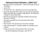 advanced tenant certification jenny file