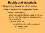 rapids and waterfalls