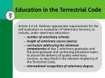 education in the terrestrial code
