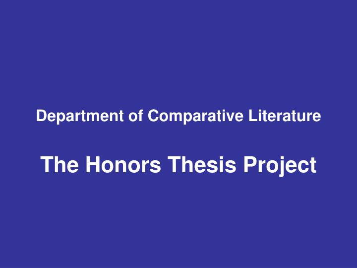 Senior honors thesis