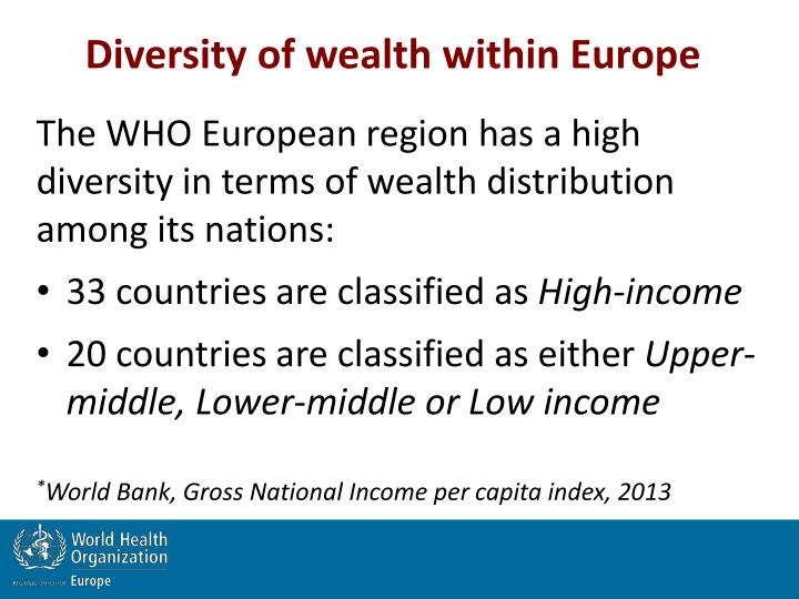 Diversity of wealth within Europe