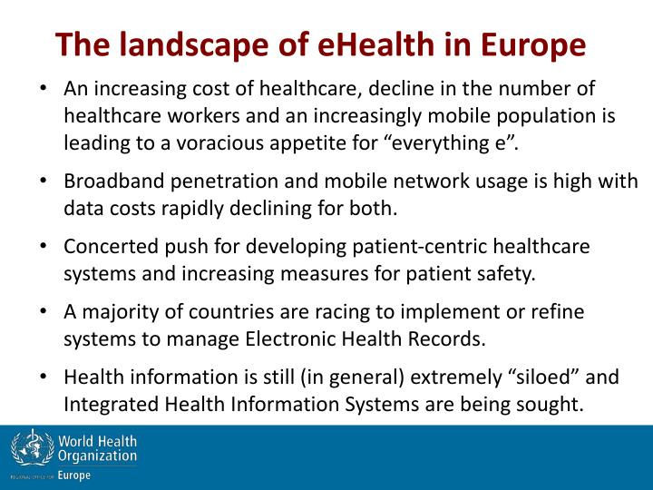 The landscape of eHealth in Europe