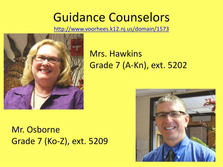 Guidance counselors http www voorhees k12 nj us domain 1573