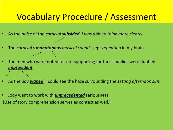 Vocabulary Procedure / Assessment