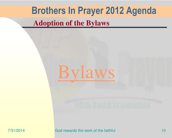Brothers In Prayer 2012 Agenda