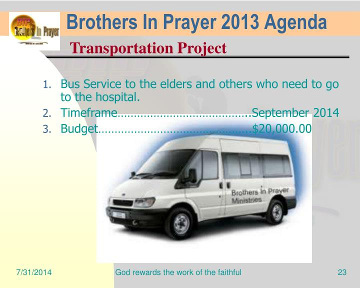 Brothers In Prayer 2013 Agenda