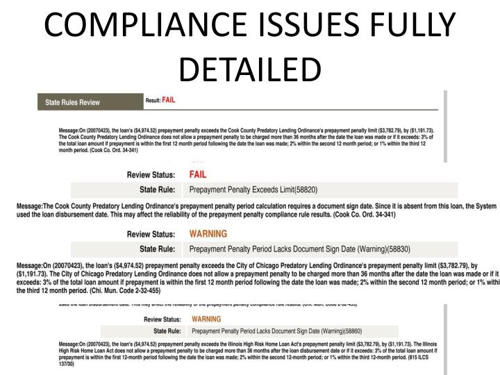 compliance issues fully detailed