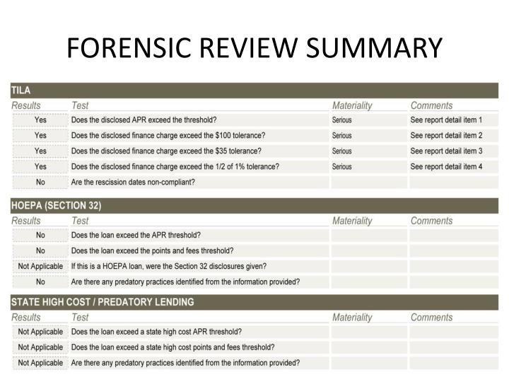 forensic review summary