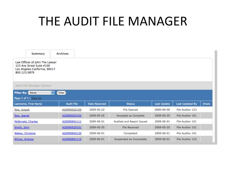 the Audit file manager