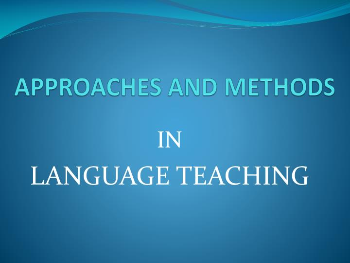 approaches and methods n.