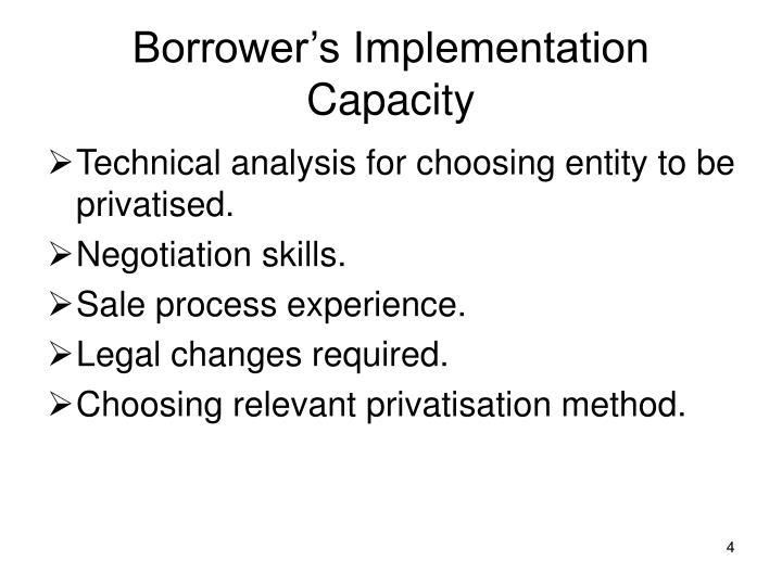 Borrower's Implementation Capacity