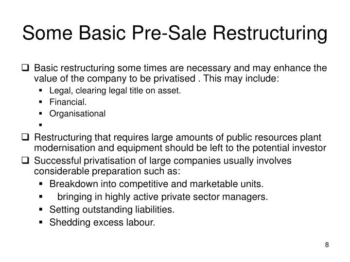 Some Basic Pre-Sale Restructuring