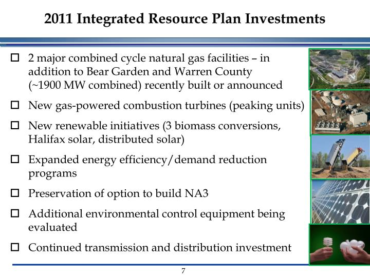 2011 Integrated Resource Plan Investments