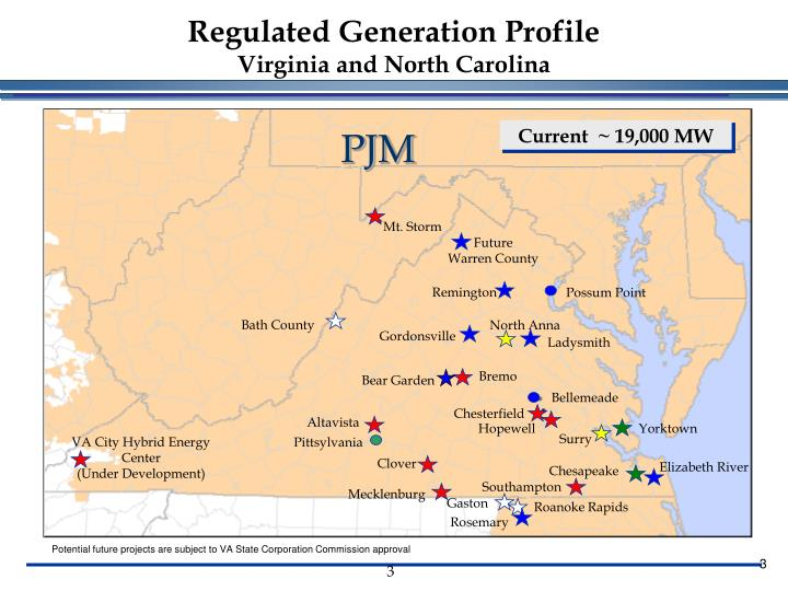 Regulated generation profile virginia and north carolina