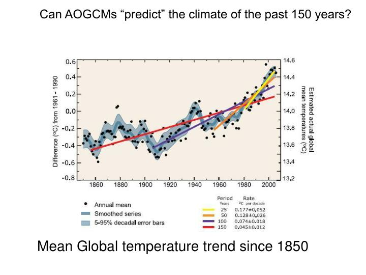 "Can AOGCMs ""predict"" the climate of the past 150 years?"