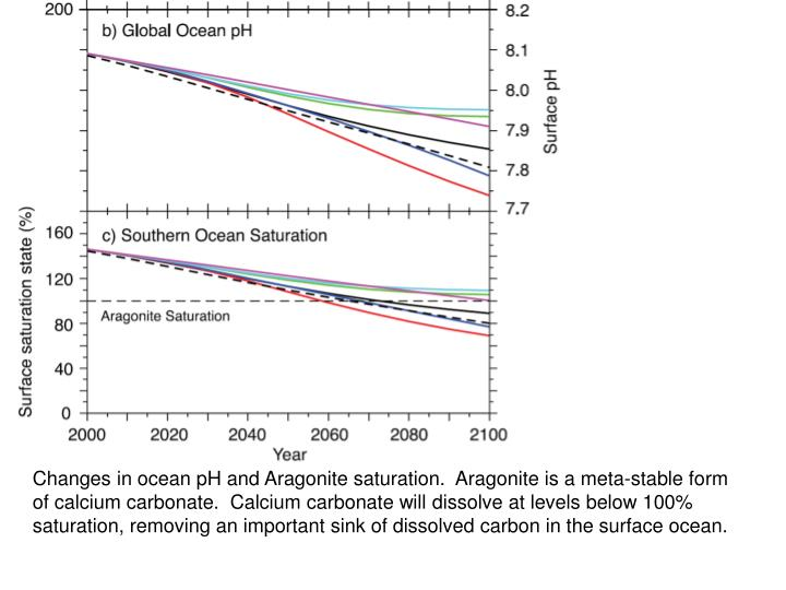 Changes in ocean pH and Aragonite saturation.  Aragonite is a meta-stable form