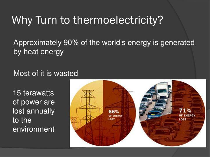 Why turn to thermoelectricity