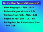 do you have peace of conscience