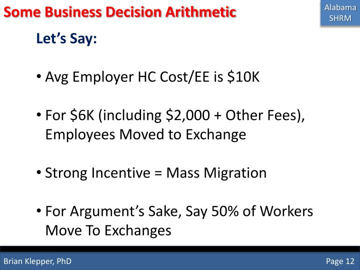 Some Business Decision Arithmetic