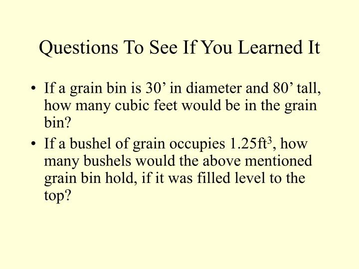 Questions To See If You Learned It