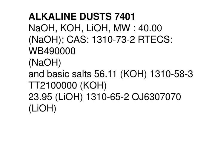 ALKALINE DUSTS 7401