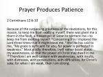 prayer produces patience