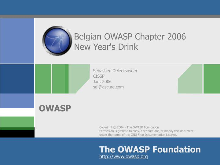 Belgian owasp chapter 2006 new year s drink