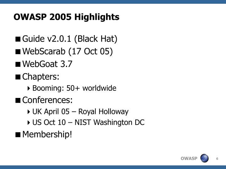OWASP 2005 Highlights