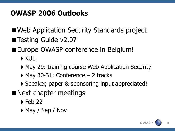OWASP 2006 Outlooks