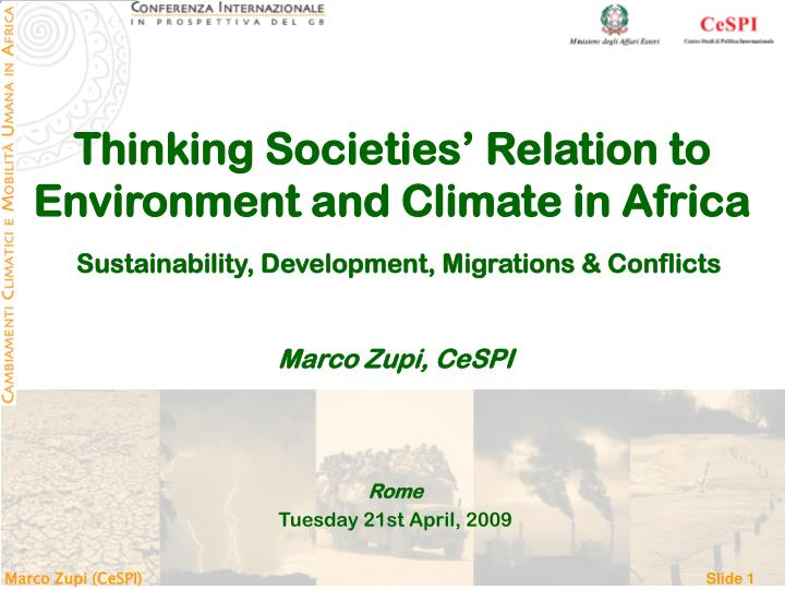 Thinking Societies' Relation to Environment and Climate in Africa