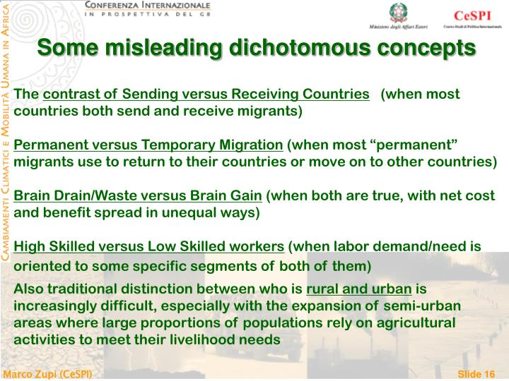 Some misleading dichotomous concepts