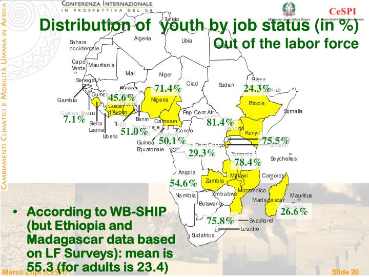 Distribution of  youth by job status (in %)