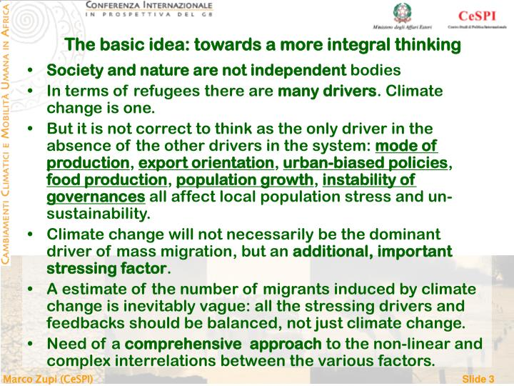 The basic idea: towards a more integral thinking