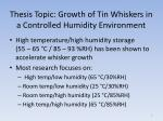 thesis topic growth of tin whiskers in a controlled humidity environment