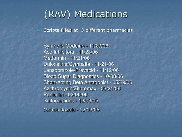 (RAV) Medications