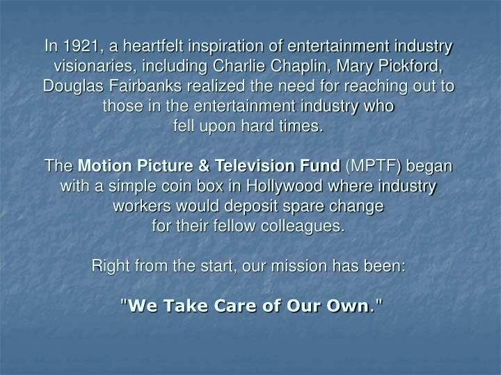In 1921, a heartfelt inspiration of entertainment industry visionaries, including Charlie Chaplin, M...