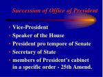 succession of office of president