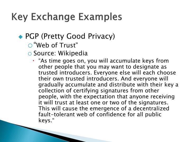 Key Exchange Examples