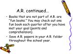 a r continued