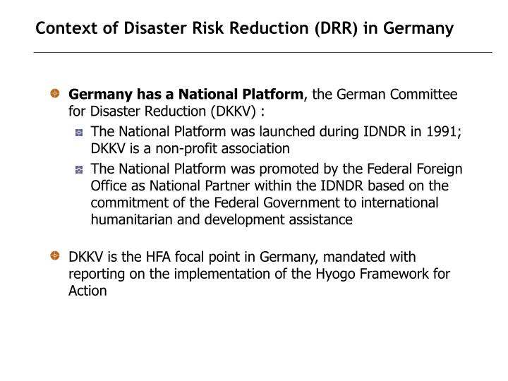 Context of disaster risk reduction drr in germany