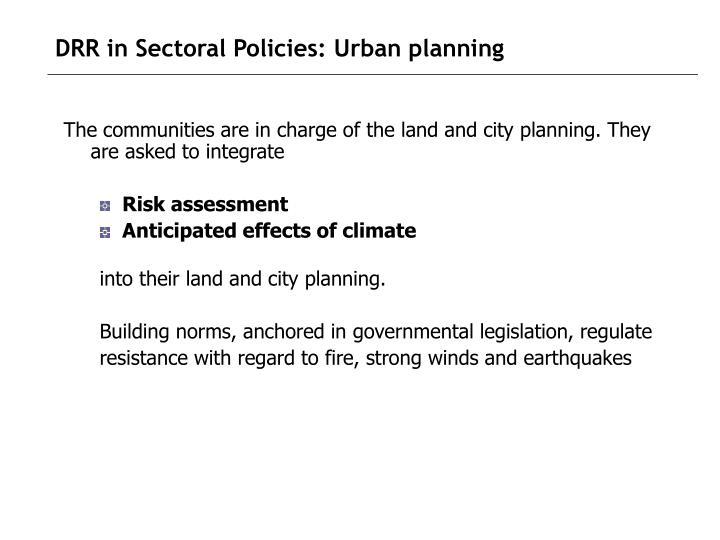 DRR in Sectoral Policies: Urban planning