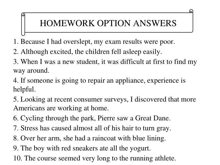 HOMEWORK OPTION ANSWERS