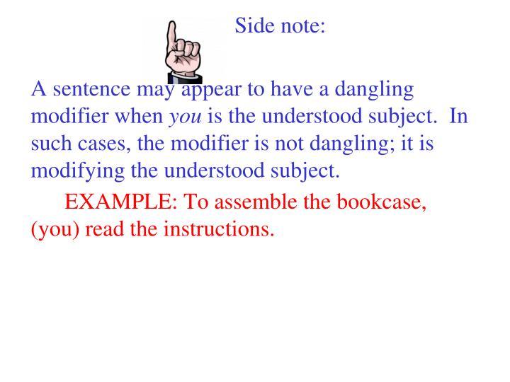 Side note: