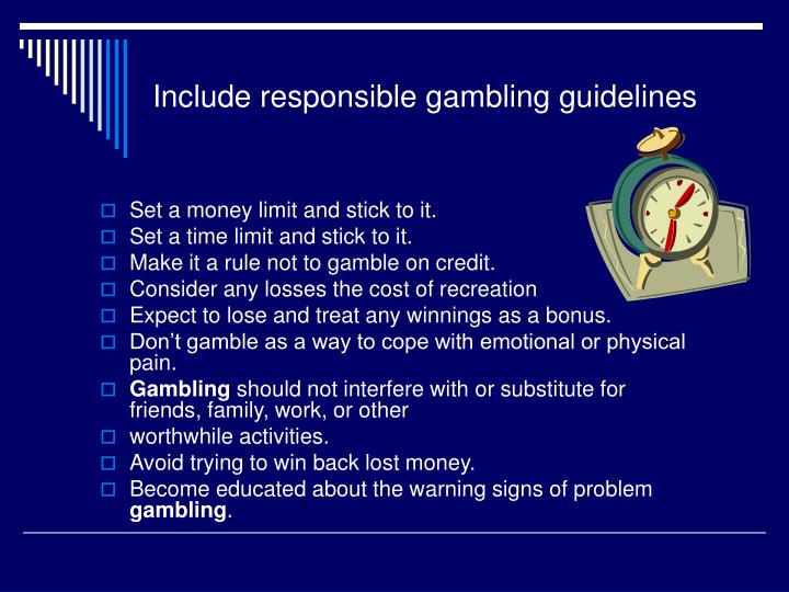 Include responsible gambling guidelines