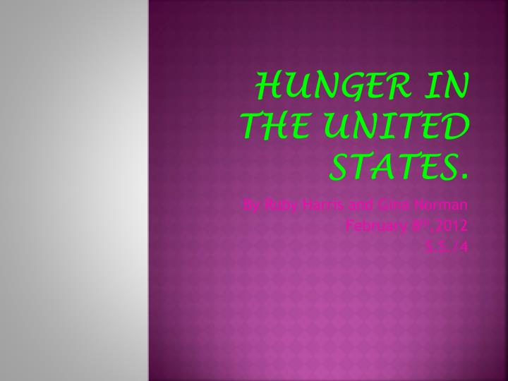 hunger in the united states n.