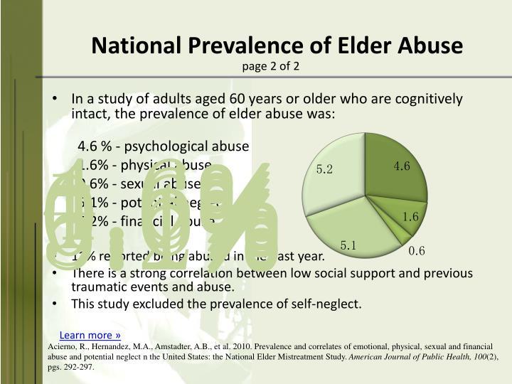 National Prevalence of Elder Abuse
