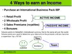 4 ways to earn an income