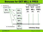 bonuses for get mill pres