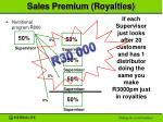 sales premium royalties