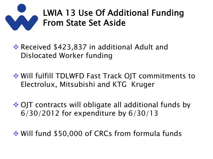 LWIA 13 Use Of Additional Funding From State Set Aside